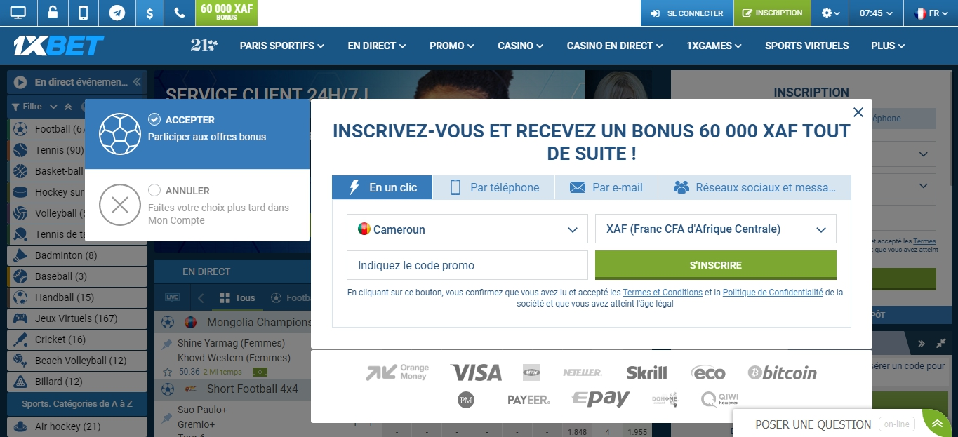 creer compte 1xbet France